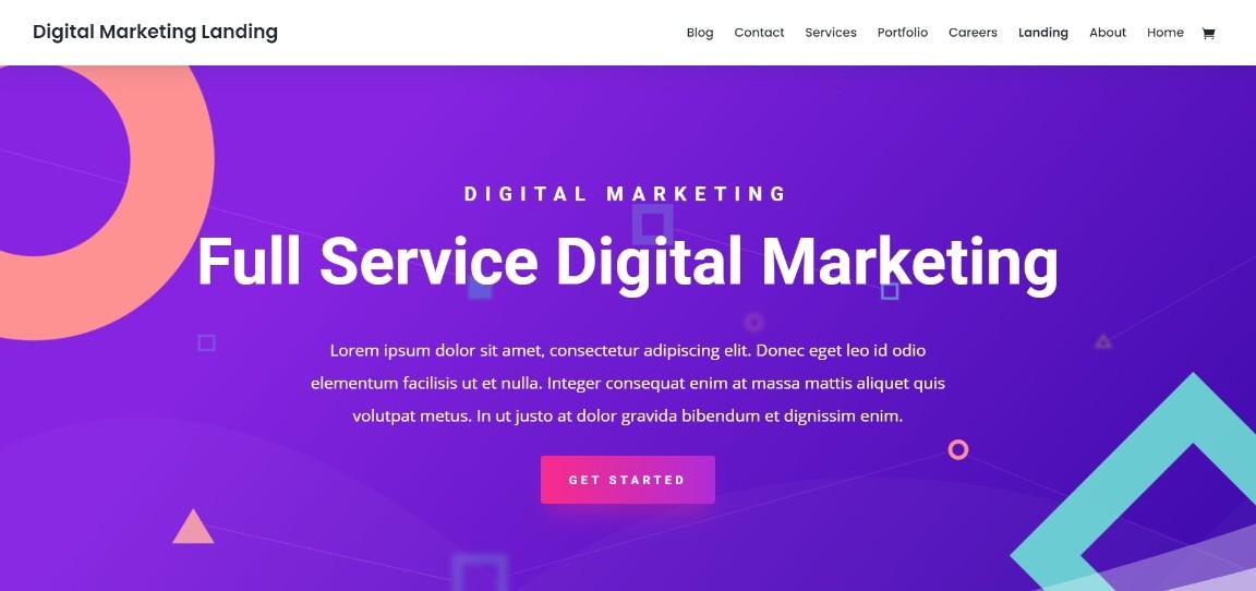 Digital Marketing Landing divi theme demo