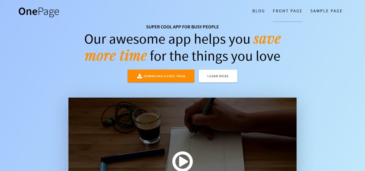 OnePage wordpress theme demo
