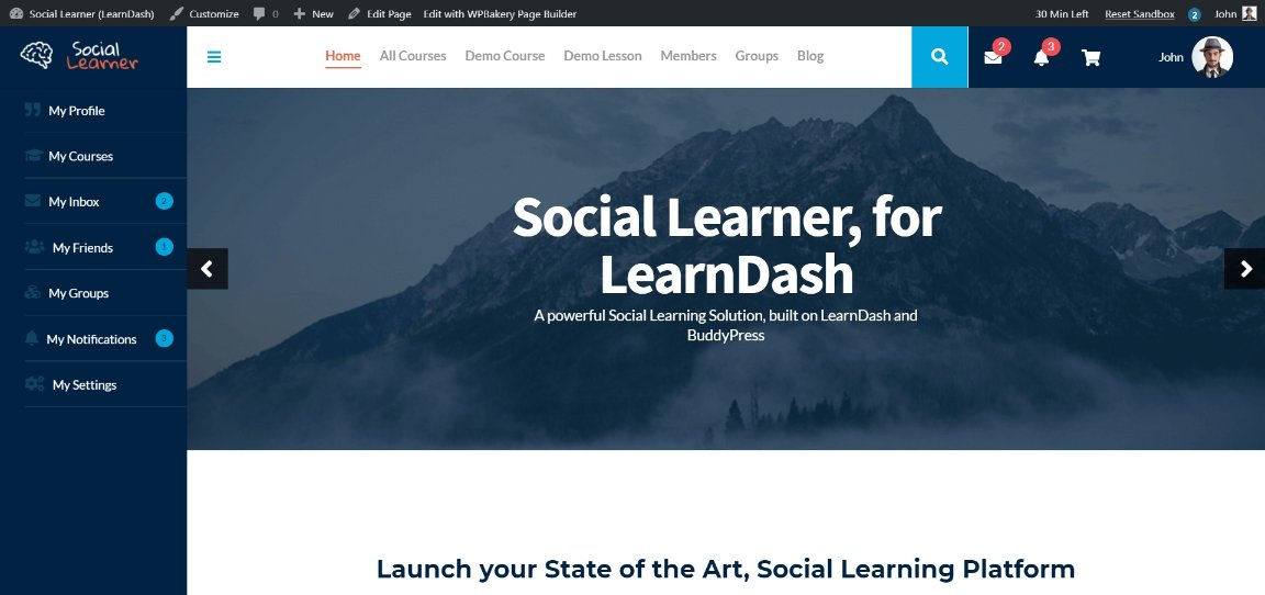 Social Learner wordpress demo site