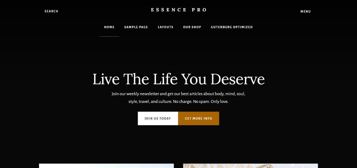 Studiopress Essence Pro gutenberg ready theme