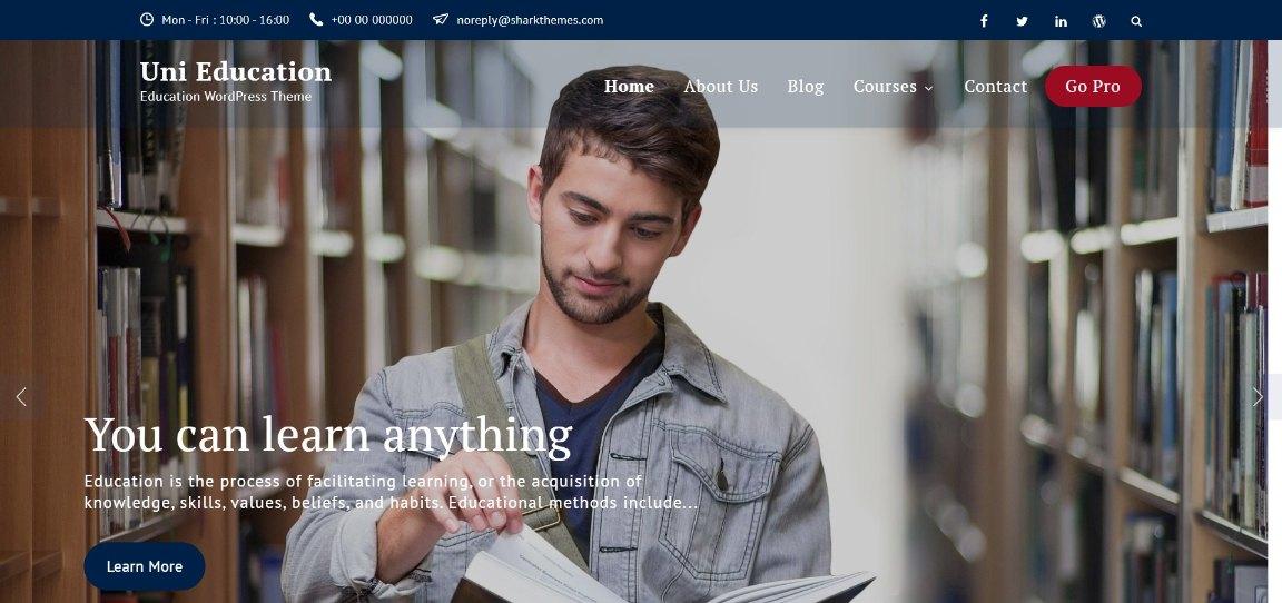 Uni Education Education WordPress Theme demo