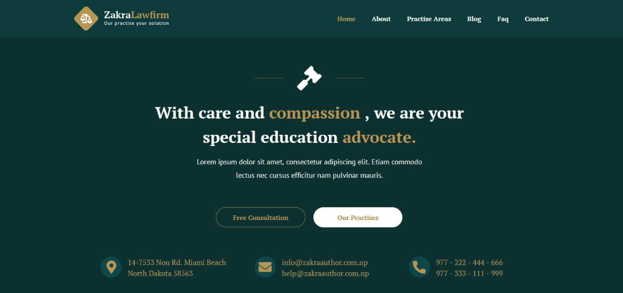 Zakra Law Firm WordPress website