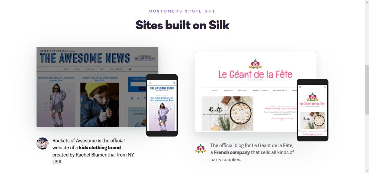 silk theme demo site
