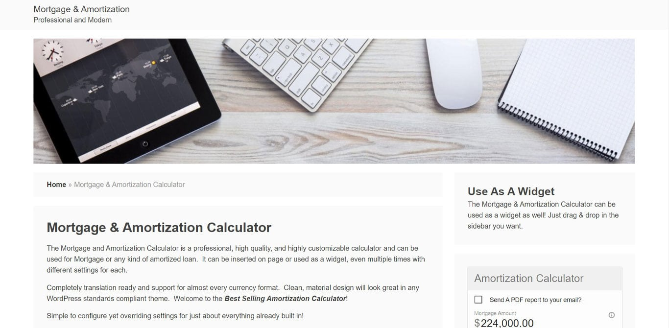 WP amortization plugin site image