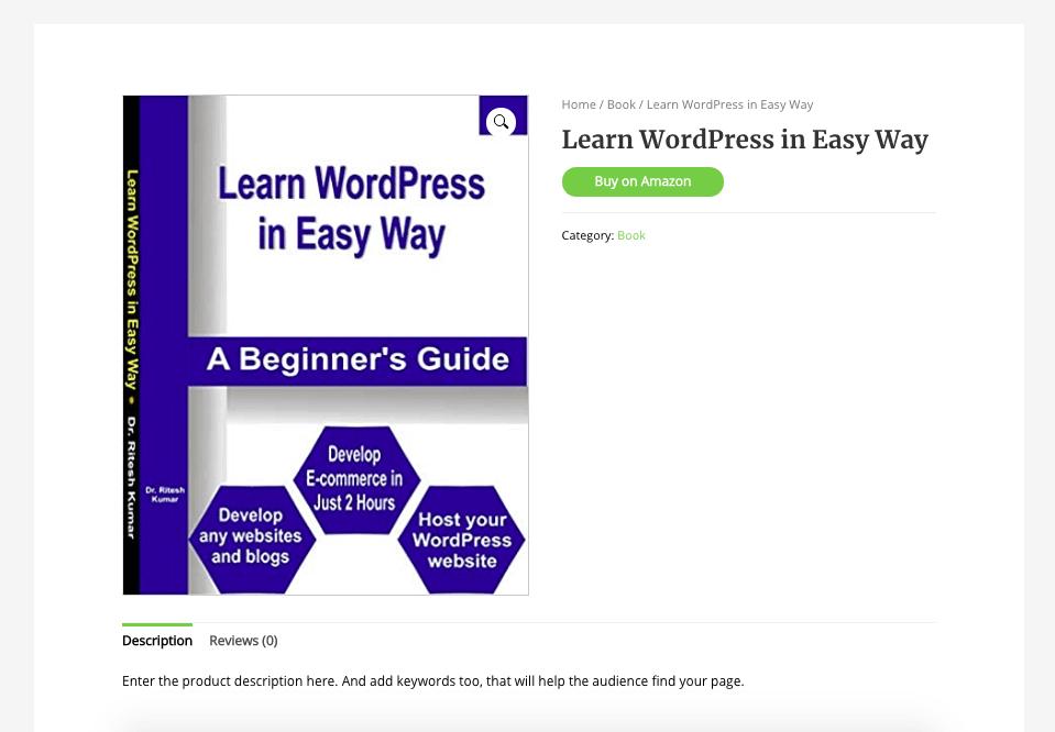 Amazon affiliate product using WooCommerce