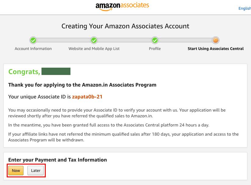 Amazon associates setup 5