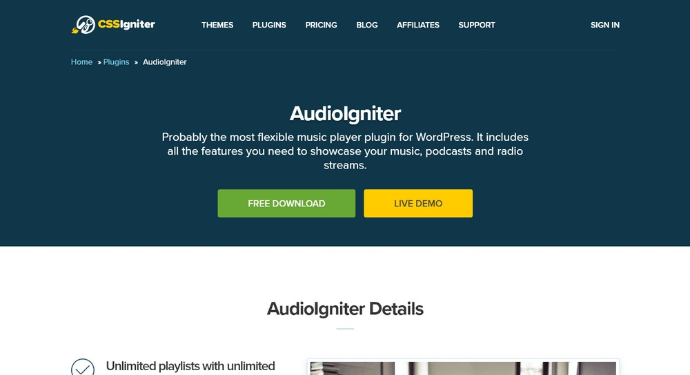 AudioIgniter WordPress Plugin