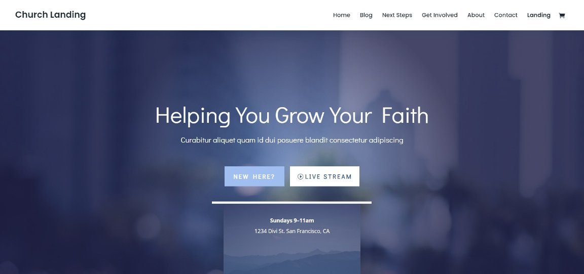 Church Landing divi theme