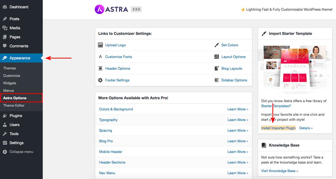 Install important plugin Astra