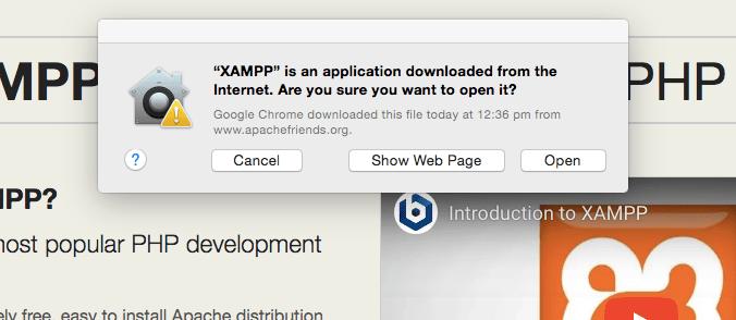Open xampp installation on Mac