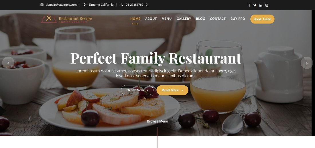 Restaurant Recipe theme demo template