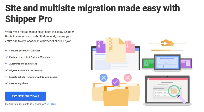 Shipper Pro Easy WordPress Site Migration plugin