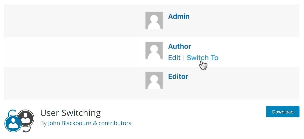 User Switching WordPress plugin
