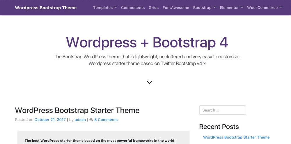 WP Bootstrap Starter By Afterimage Designs demo