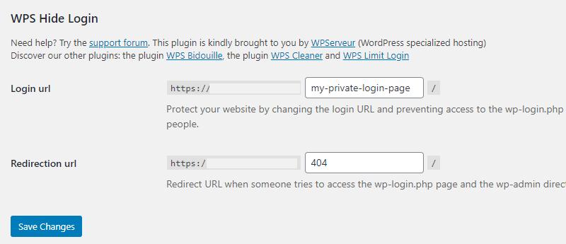 WPS hide settings