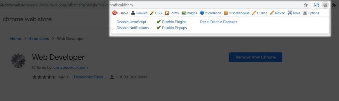 Web developer extension for chrome