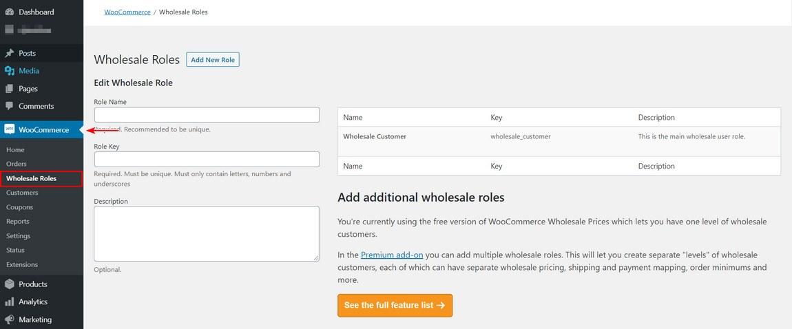 Wholesale roles settings