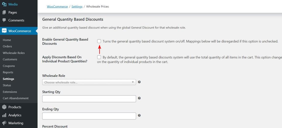Woocommerce general quantity based discount