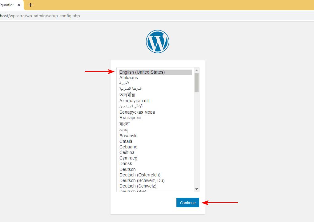 WordPress language setup using XAMPP