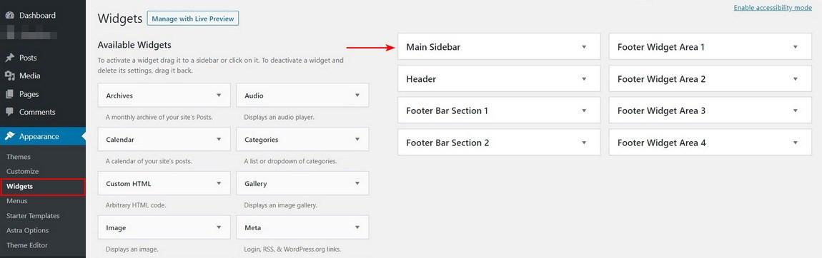 WordPress sidebar and footer widgets