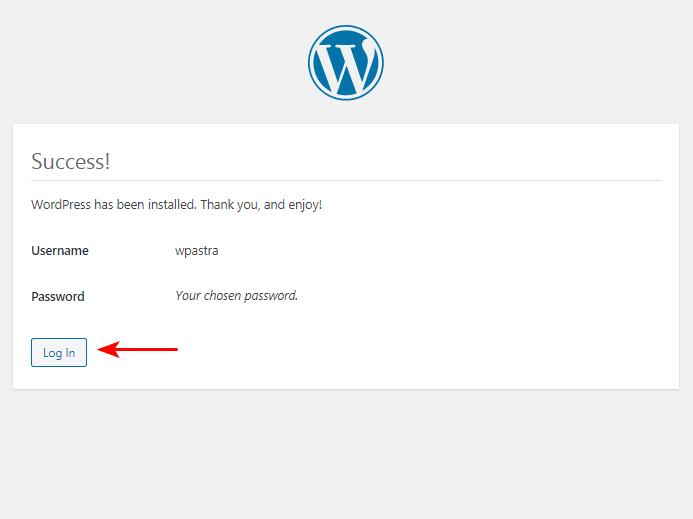 WordPress succesfull installation on windows