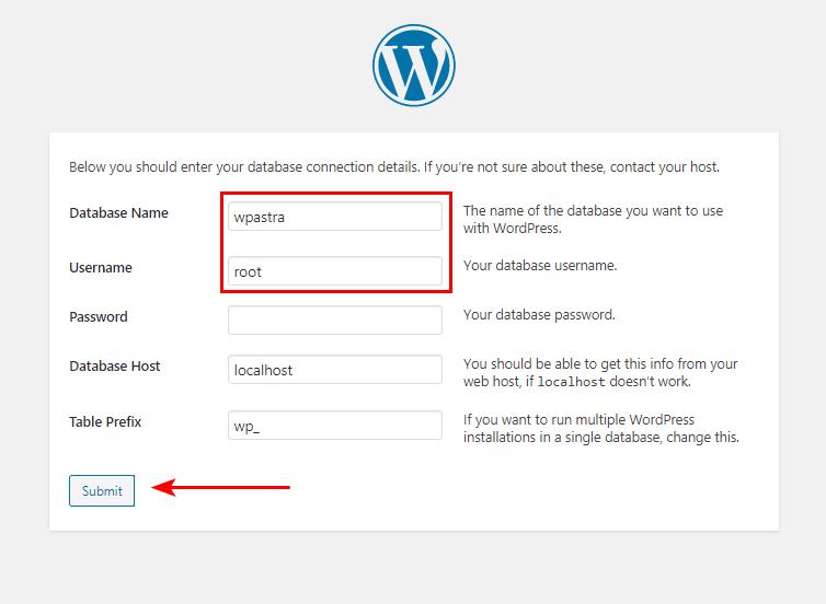 XAMPP WordPress database settings for Mac