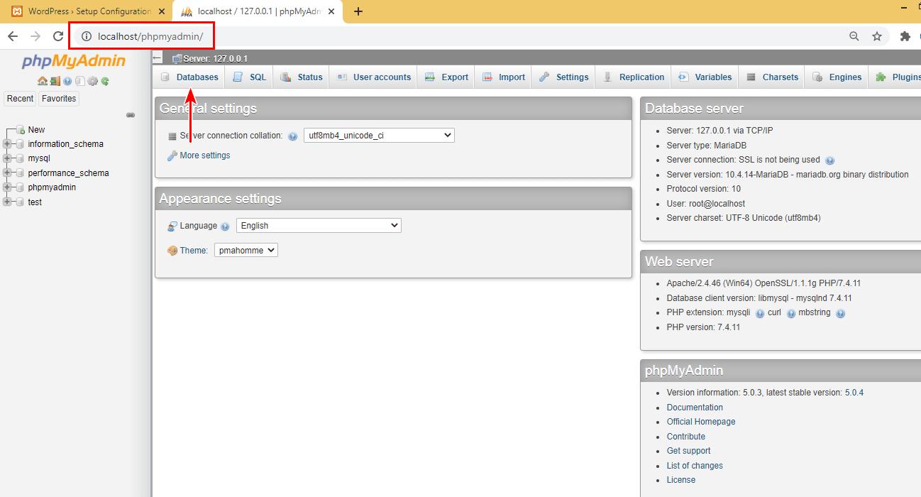 XAMPP WordPress database setup 2