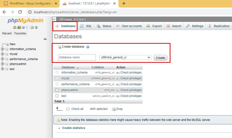 XAMPP WordPress database setup 3