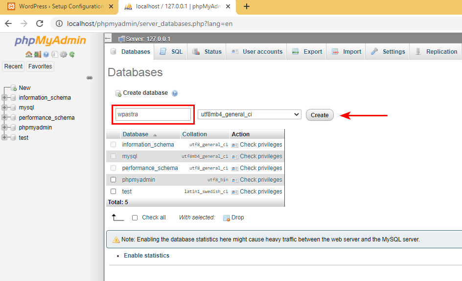 XAMPP WordPress database setup 4