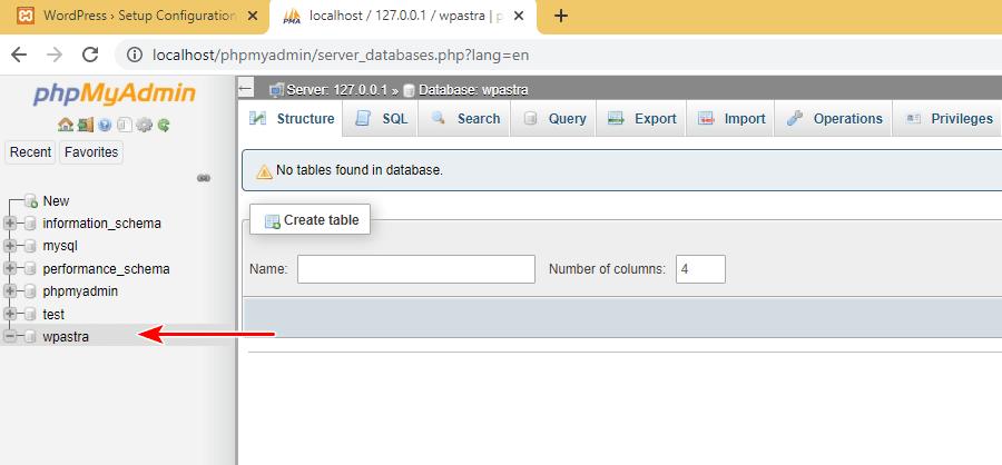 XAMPP WordPress database setup 5