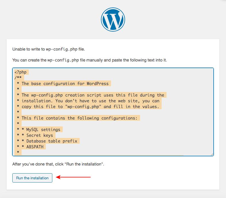 XAMPP WordPress installation on Mac wp config settings