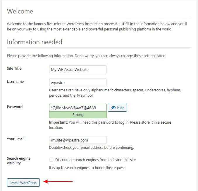 XAMPP WordPress installation settings