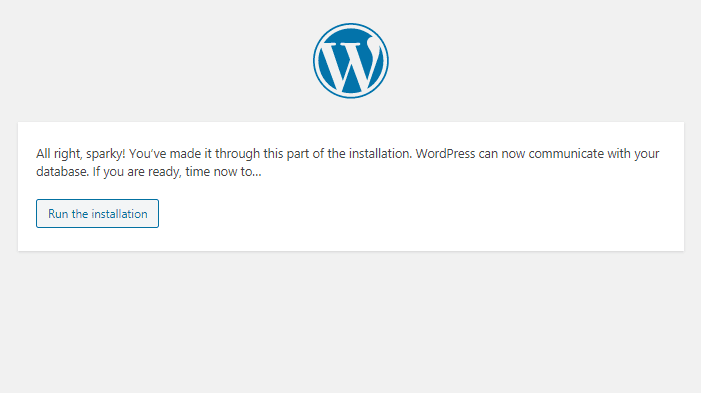 XAMPP WordPress run installation