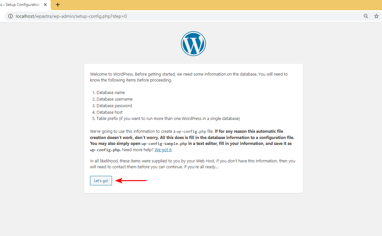 XAMPP enter WordPress database details prompt