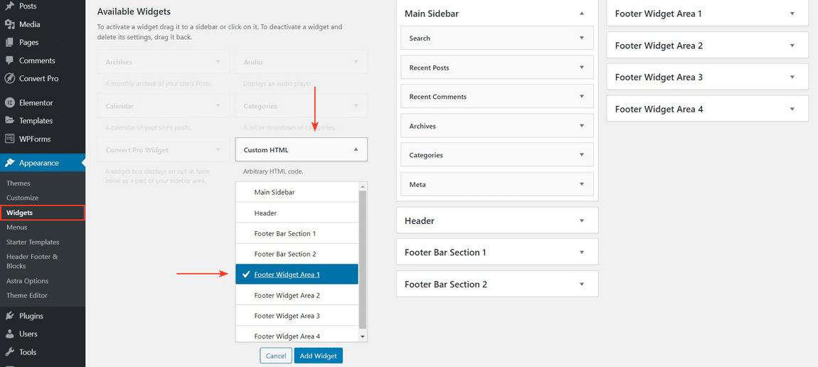 add custom html widget in footer