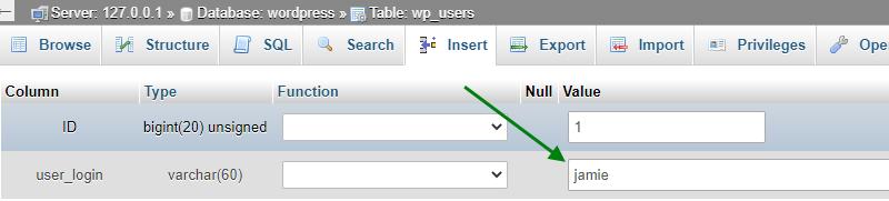 edit wordpress username