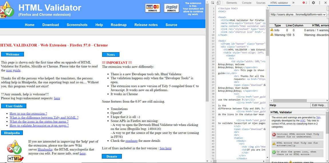 html validator chrome extension