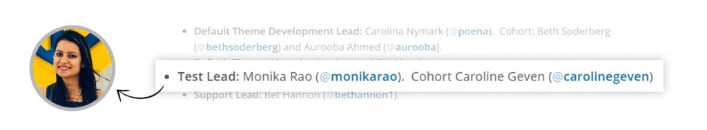 Monika Rao as Test Lead for WordPress 5.6