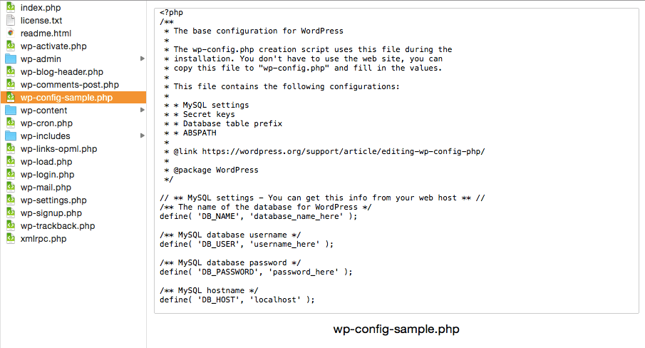 wp config file setting for Mac OS