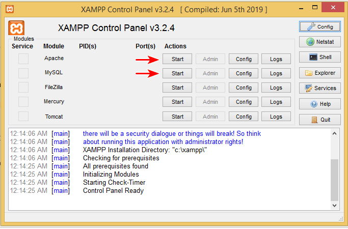 xampp settings