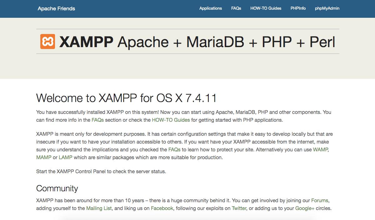 xampp successful installation on Mac