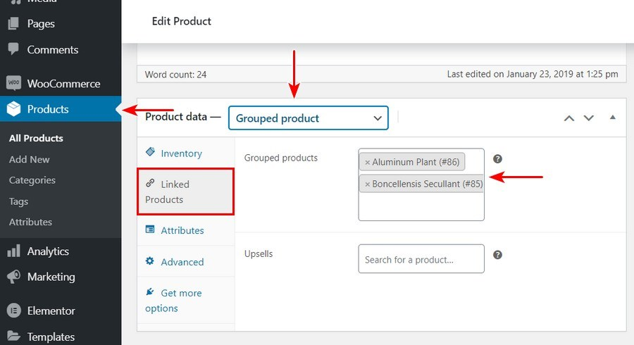 Add grouped product in WooCommerce