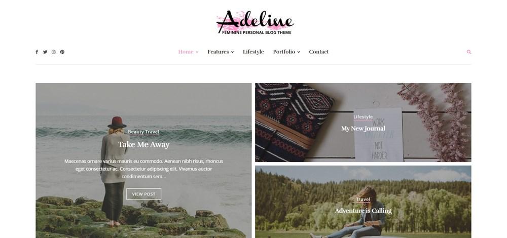 Adeline feminine Personal WordPress Blog Theme