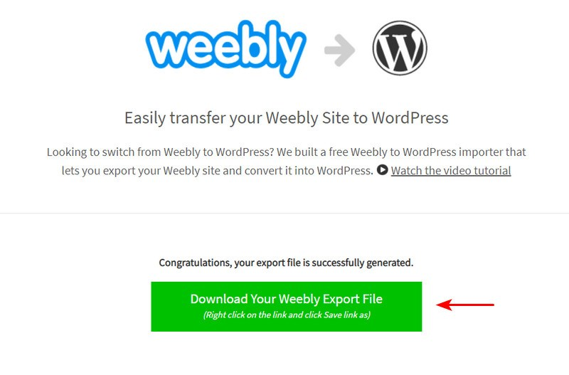 Download Weebly export file
