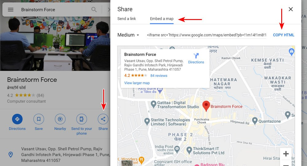 Embed map in wordpress footer