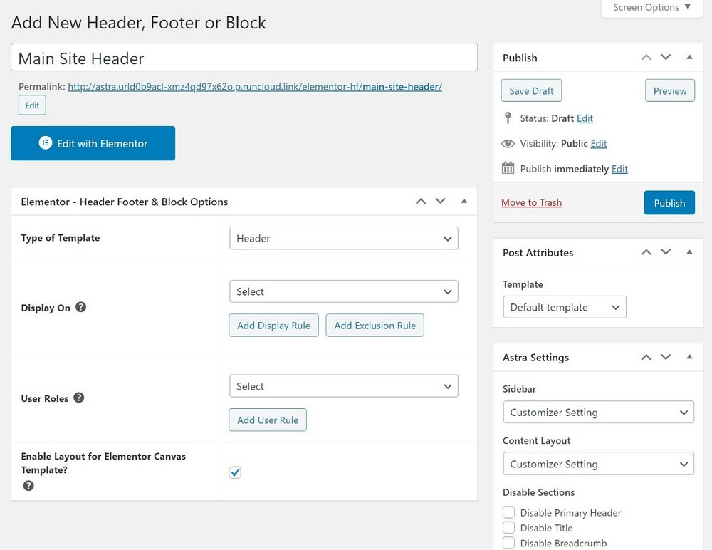 Header Footer and Blocks header settings