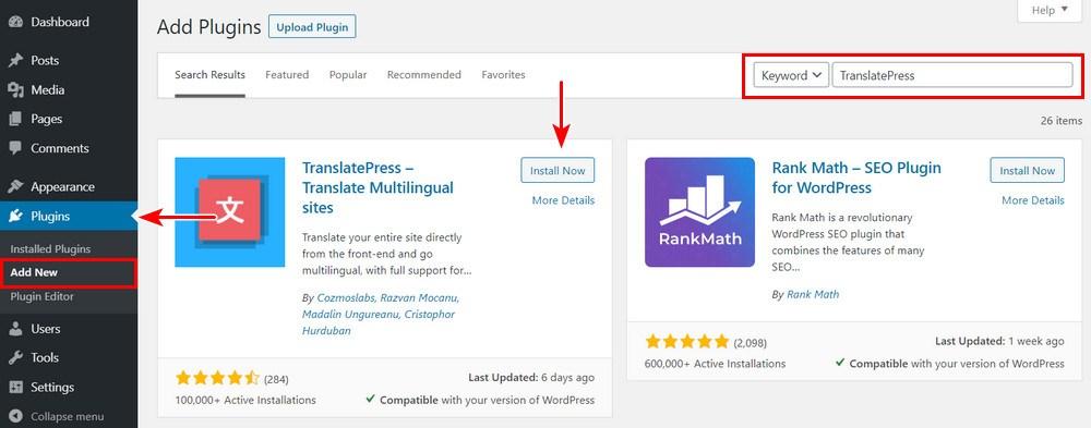 Install translatepress WordPress plugin