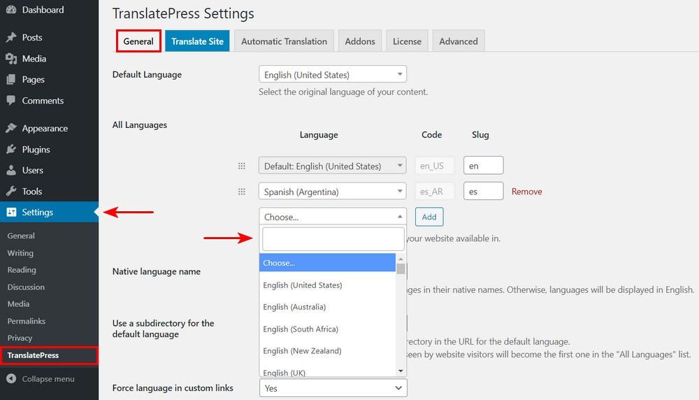 TranslatePress languages