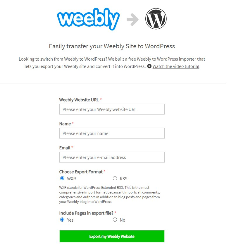 Weebly to WordPress importer tool