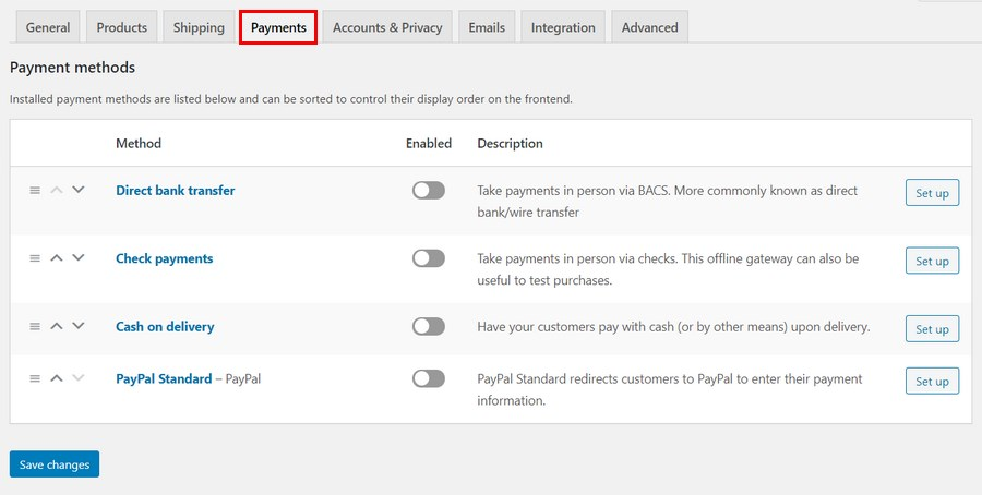 WooCommerce Payment setting